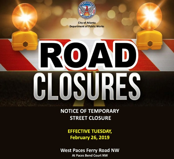 Road Closure Graphic West Paces Ferry Road