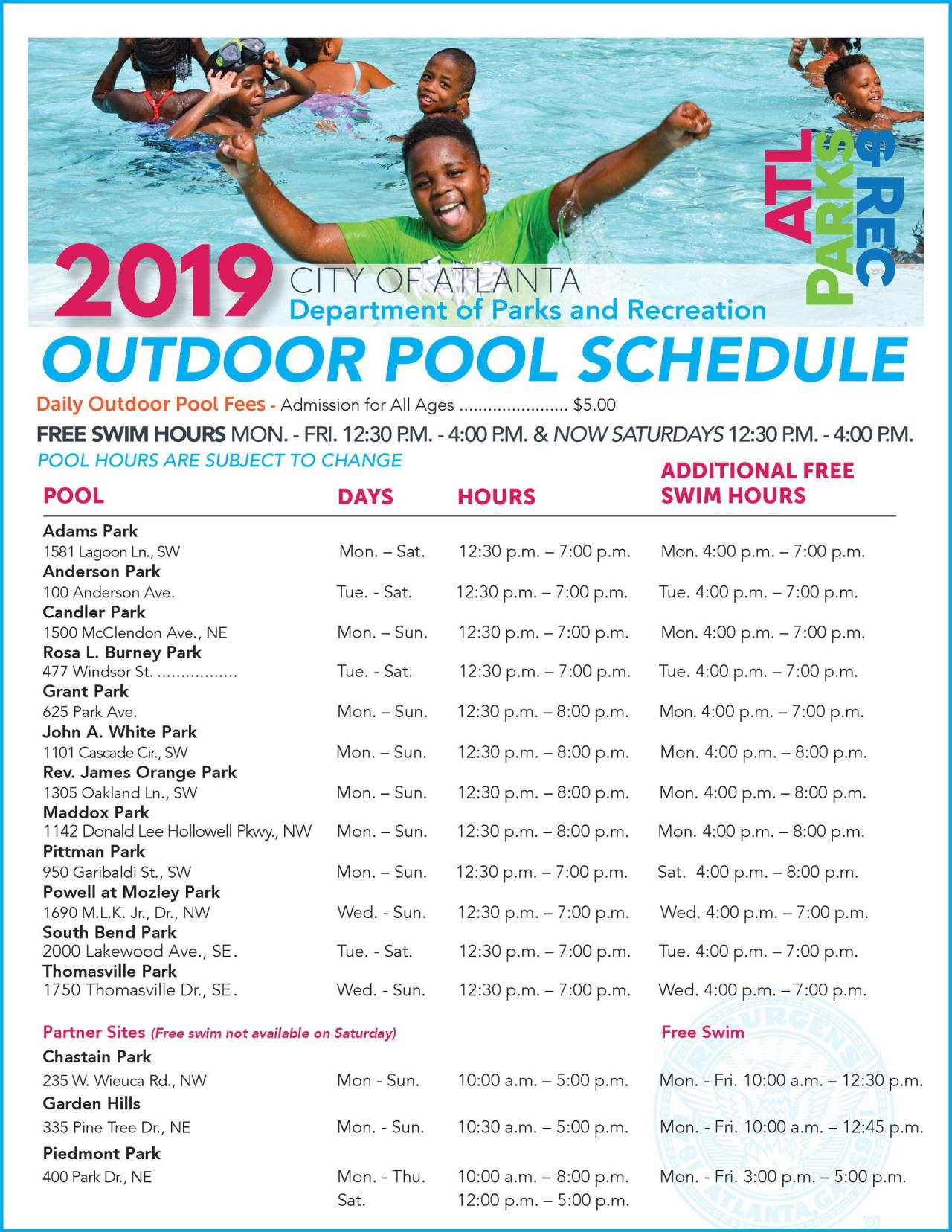 2019 Outdoor Pools Schedule