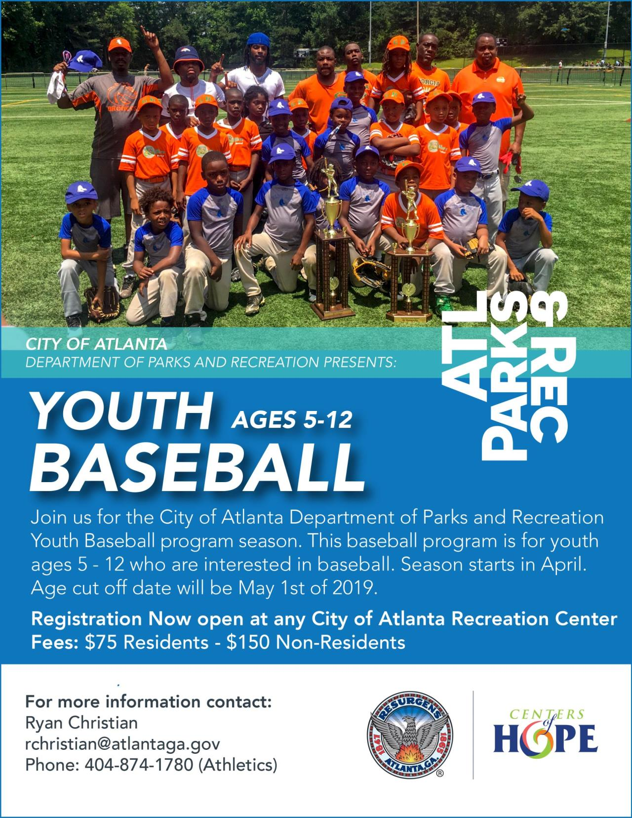 2019 5 - 12 Youth Baseball Flyer Contact Info