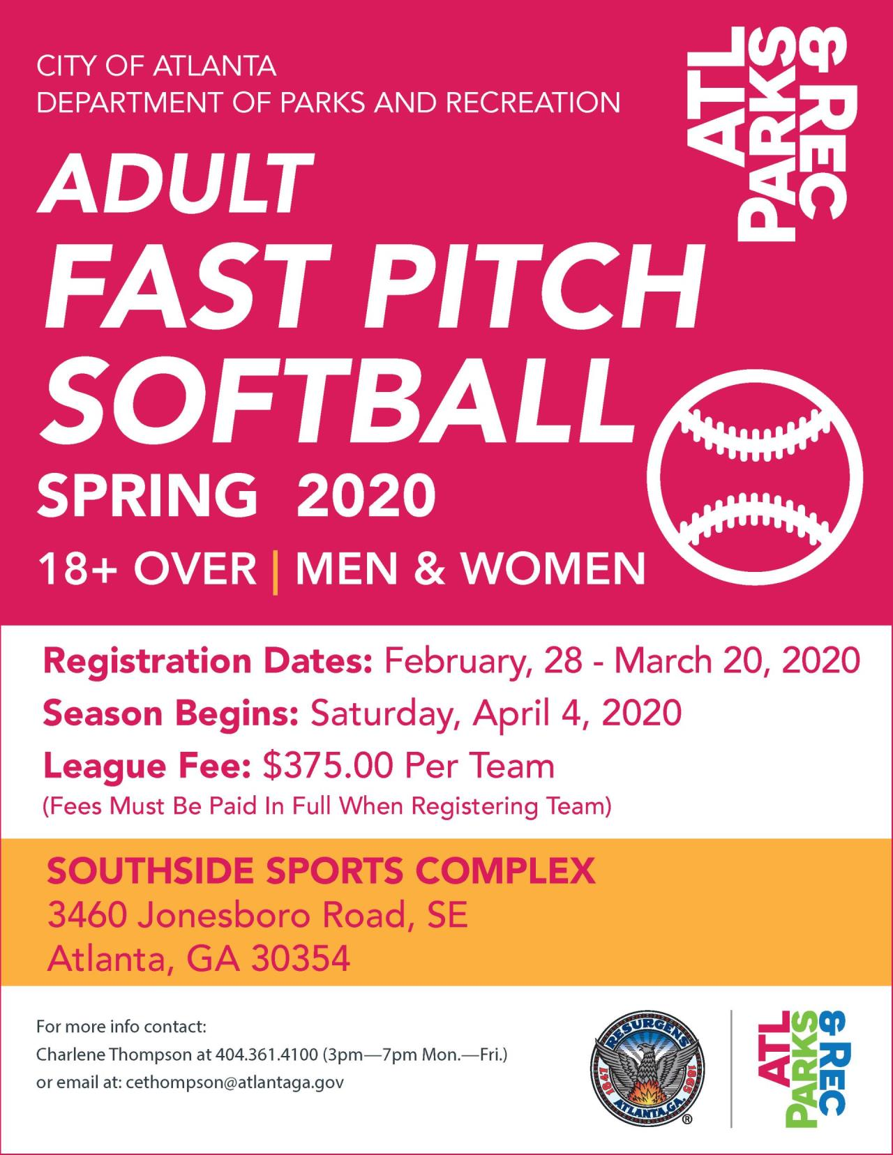 2020 Adult Fast Pitch Softball Flyer