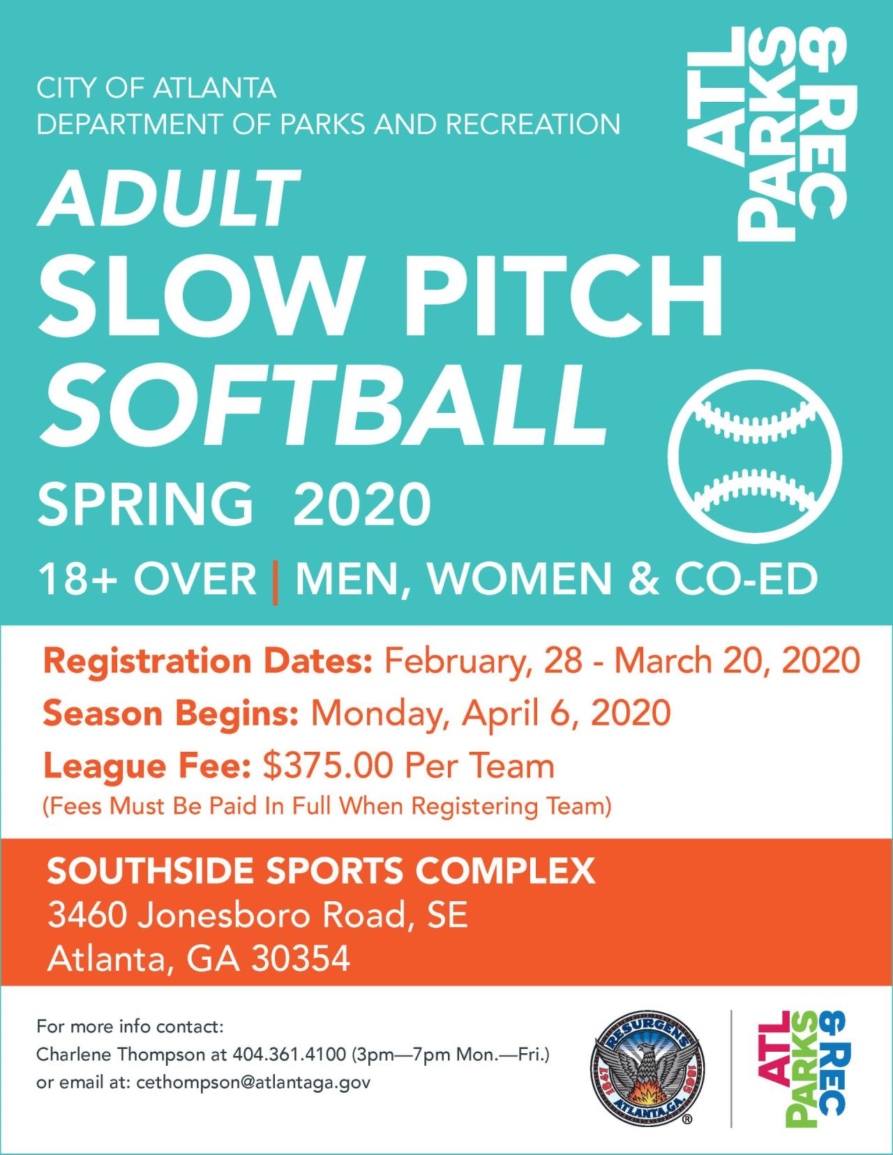 2020 Adult Slow Pitch Softball Flyer