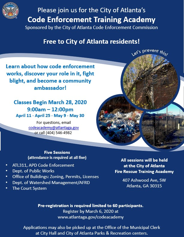 Spring 2020 Code Academy Flyer City Services