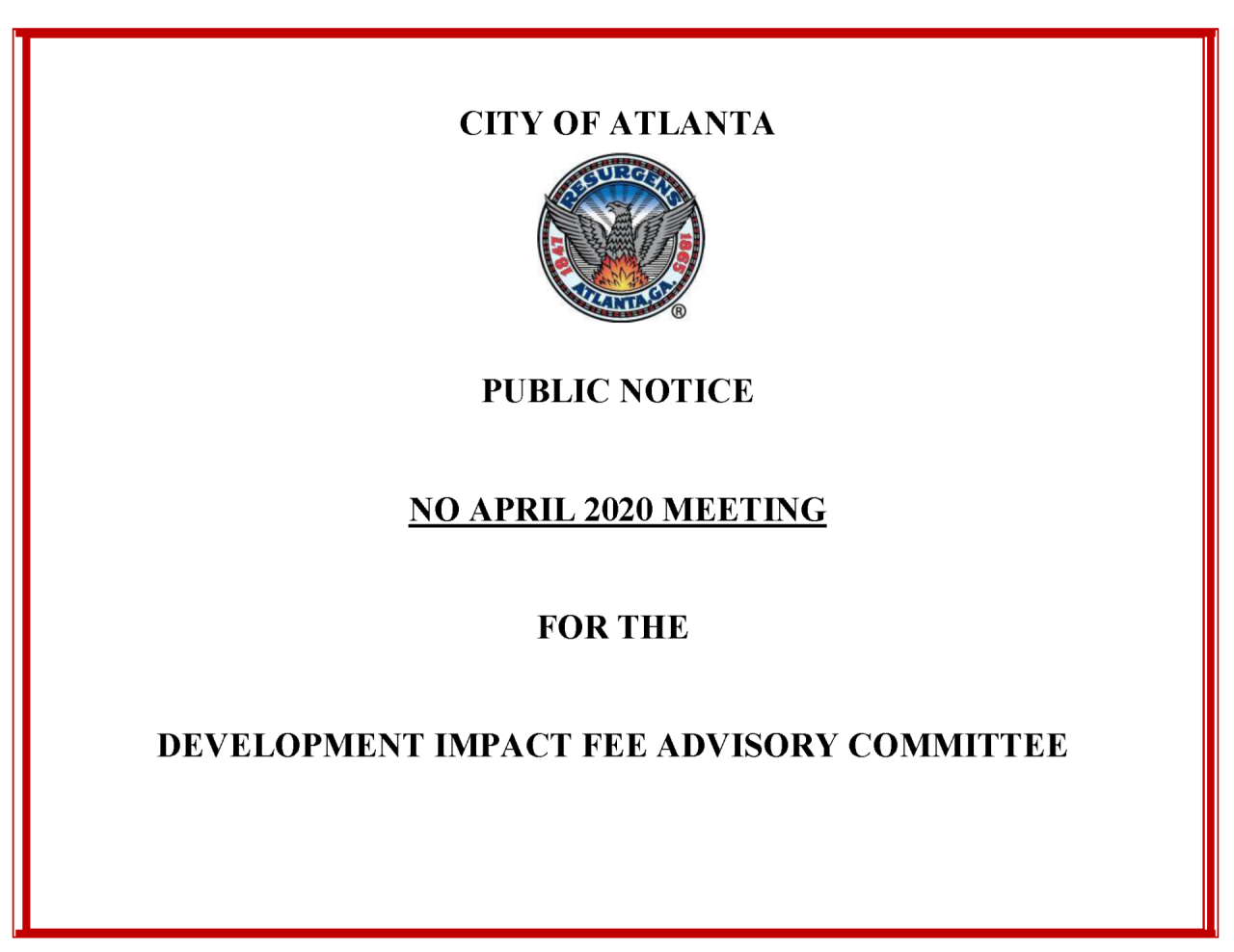 DIF AC - Public Notice - April 2020 Meeting - Cancelled